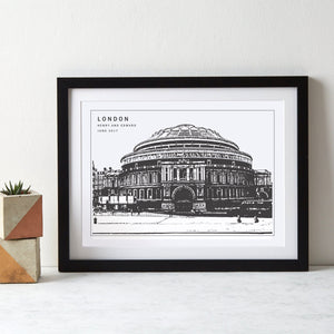 Royal Albert Hall London Monochrome Art  Print - Betsy Benn