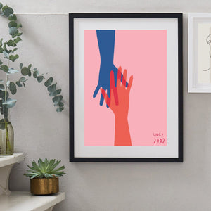 Holding Hands Personalised Couples Anniversary Print-Print-Betsy Benn