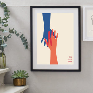 Holding Hands Personalised Couples Anniversary Print