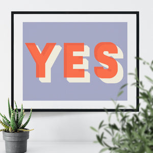 Bold Typographic Riso Print - Yes