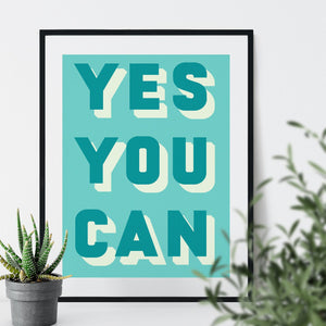 Bold Typographic Riso Print - Yes You Can-Print-Betsy Benn
