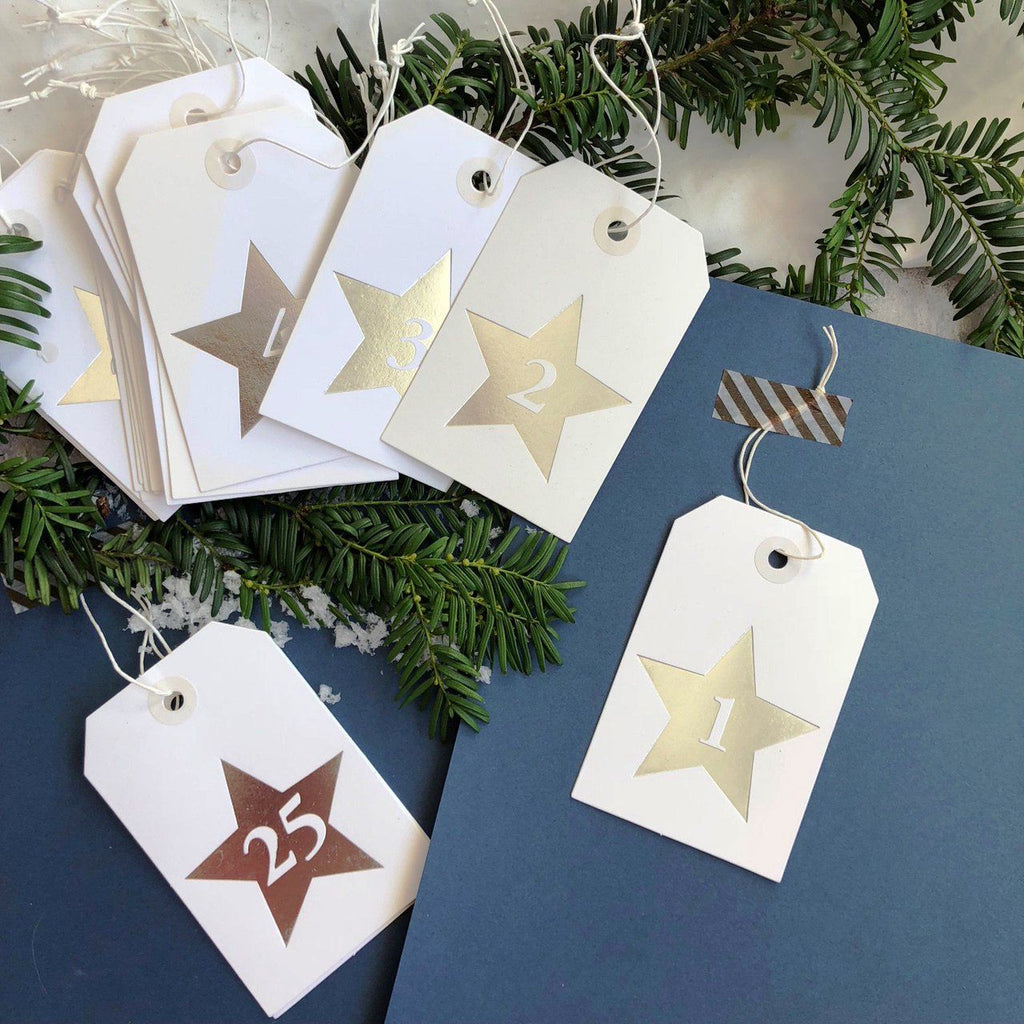 Silver Star Advent Calendar Tags