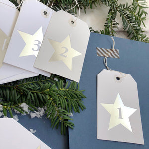 Silver Star Advent Calendar Tags  Decoration - Betsy Benn