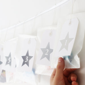 Silver Star Advent Calendar Tags-Decoration-Betsy Benn
