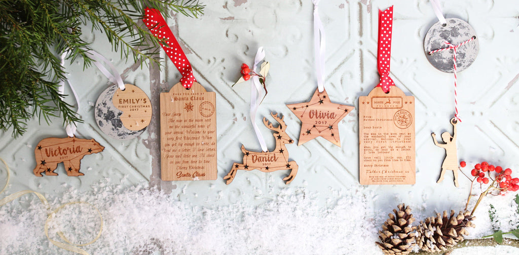 Baby's First Christmas |  Wooden Tag Letter Decoration from Father Christmas - Betsy Benn