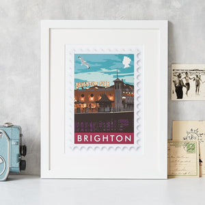 Brighton Postage Stamp Art Print