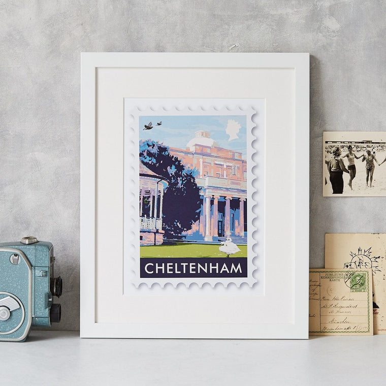 Cheltenham Pittville Pump Rooms Postage Stamp Art Print - Betsy Benn