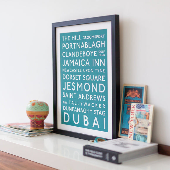 Classic Personalised Destination Bus Blind Print - Betsy Benn