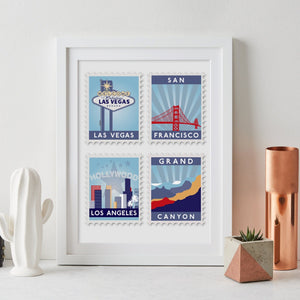 Favourite Destinations Postage Stamp Art  Print - Betsy Benn