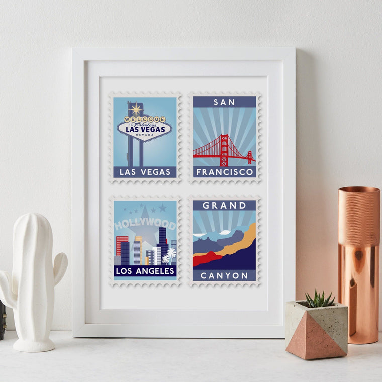 Favourite Destinations Postage Stamp Art - Betsy Benn