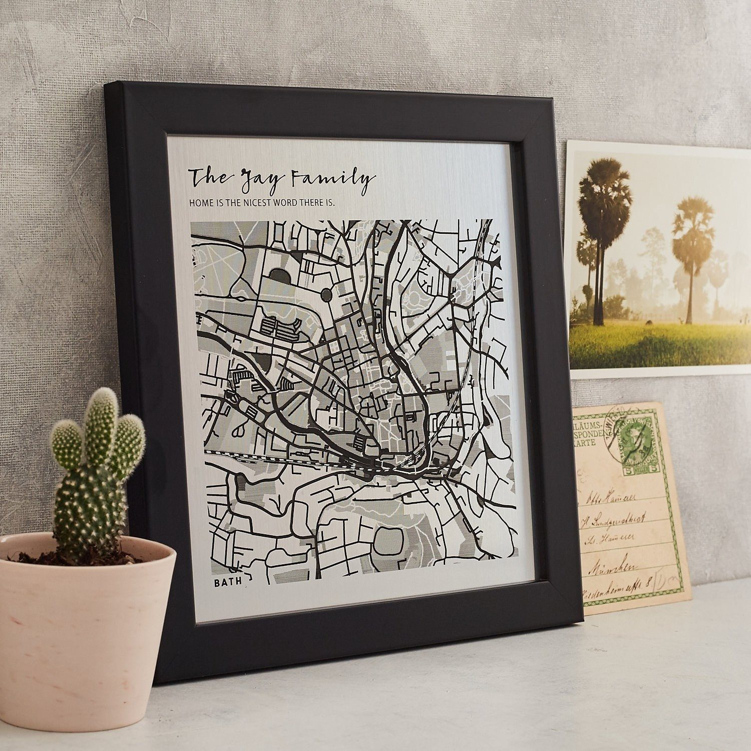 Favourite Place Metallic Map Artwork  Print - Betsy Benn