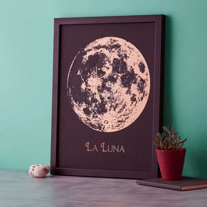 Full Moon Metallic Engraving  Print - Betsy Benn