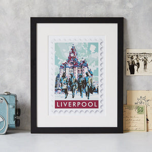 Liverpool & The Beatles Stamp Art Print  Print - Betsy Benn