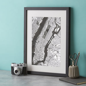 Manhattan Map Silver Engraving  Print - Betsy Benn