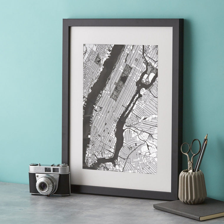 Manhattan Map Silver Engraving - Betsy Benn