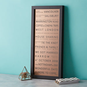 Metallic Personalised Destination Framed Print  Print - Betsy Benn
