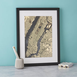 New York Streets of Gold Engraved print