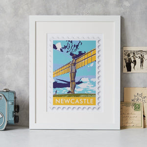 Newcastle Angel of the North Stamp Art Print  Print - Betsy Benn
