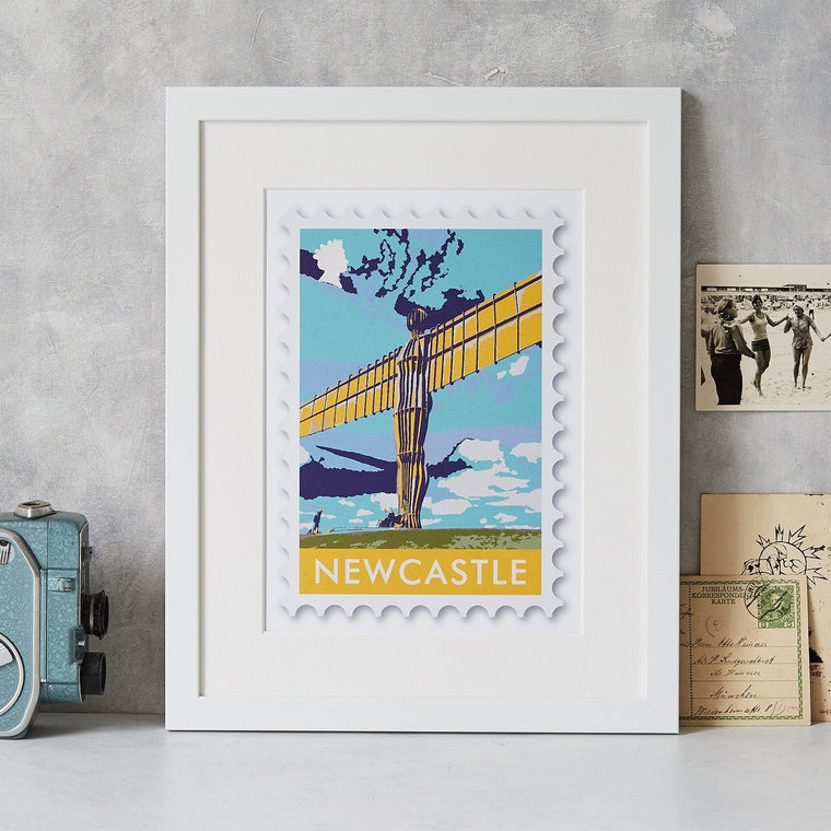 Newcastle Angel of the North Stamp Art Print - Betsy Benn