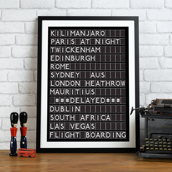 Personalised Airport Destination Board Print - Betsy Benn