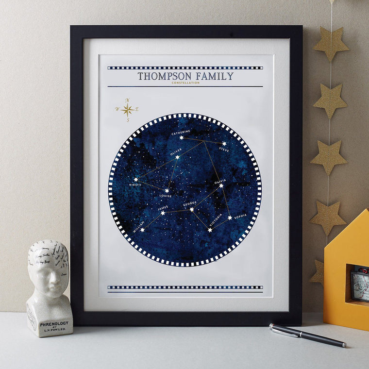 Betsy Benn Print Personalised Constellation Family Tree Print