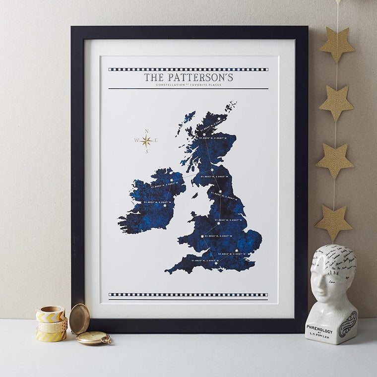 Betsy Benn Print Personalised Constellation Of Favourite Places Print
