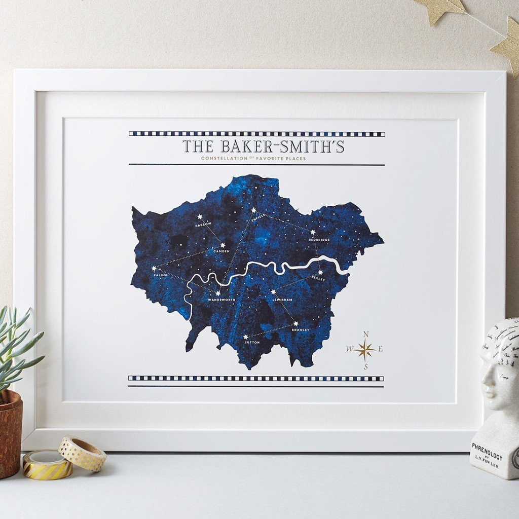 Personalised Constellation Of Favourite Places Print - Betsy Benn