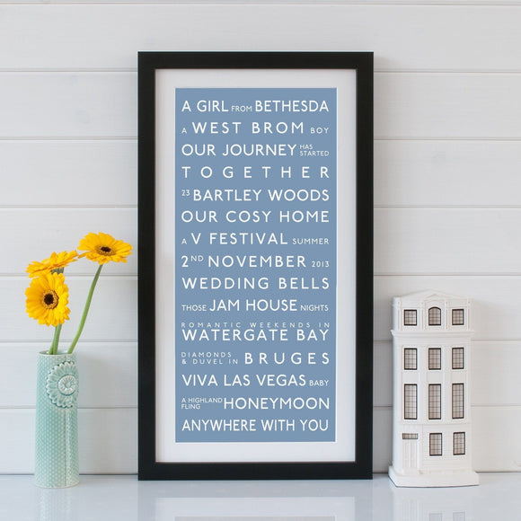 Betsy Benn Print Personalised Couples Destination Bus Blind Print