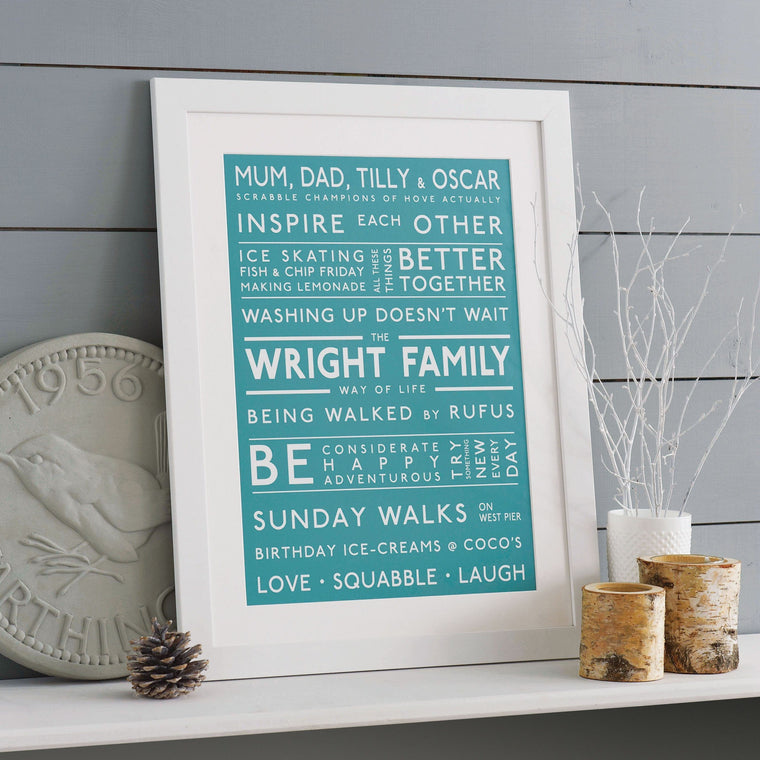 Betsy Benn Print Personalised Family Values Print