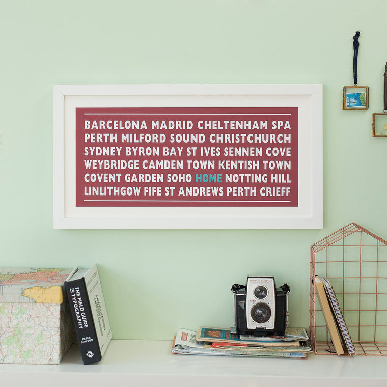 Personalised Home Destination Print - Betsy Benn