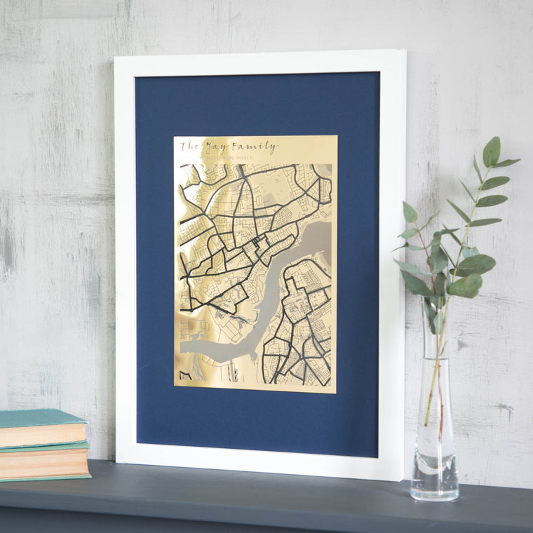 Personalised Metallic Map Engraving - Betsy Benn