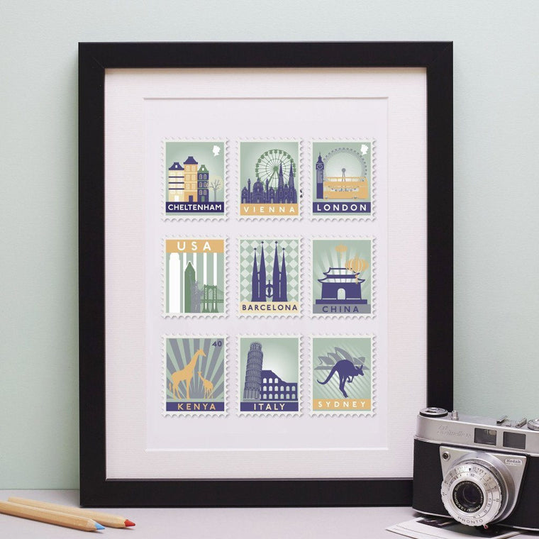 Nine Stamp Destination Print - Betsy Benn