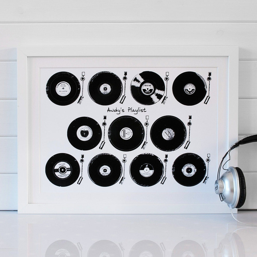 Vinyl LP Album Playlist Print - Betsy Benn