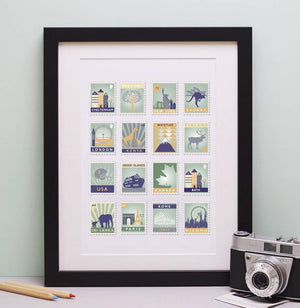 25th Anniversary Gift Favourite Places Stamp Print  Print - Betsy Benn