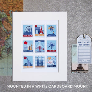 Stamp Art Destination Print 16 Stamps  Print - Betsy Benn