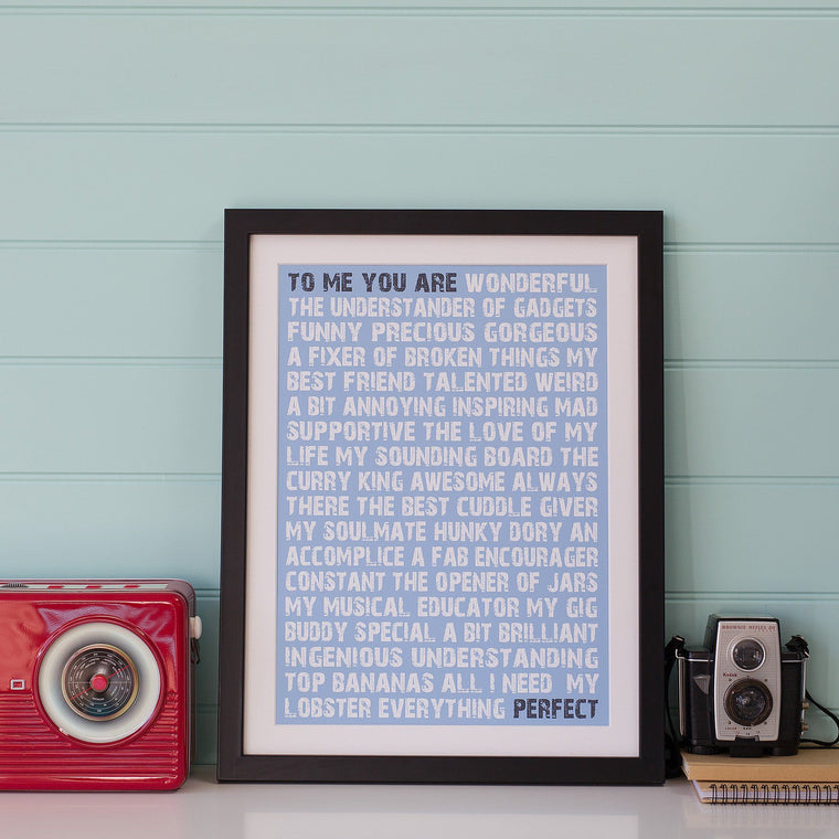 Betsy Benn Print Personalised To Me You Are Perfect Print