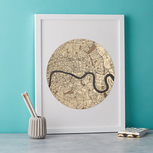 Streets of London Gold Engraved Print