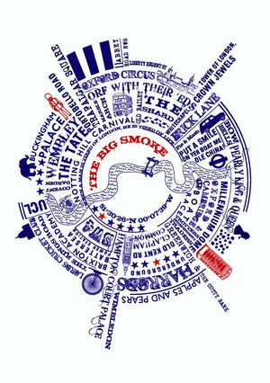 The Big Smoke London Typographic Print  Print - Betsy Benn