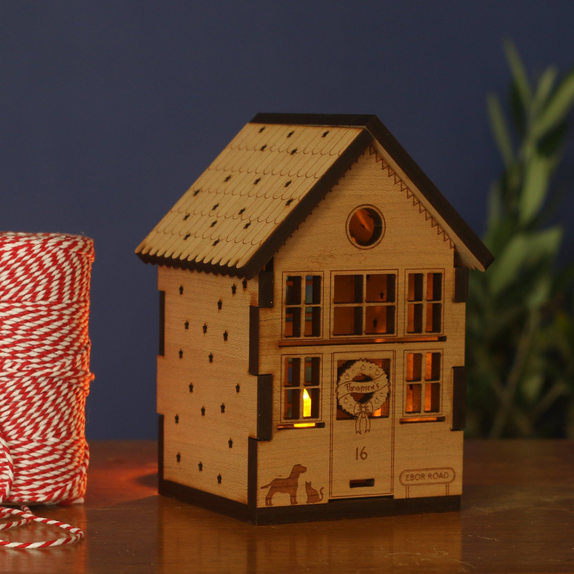 Personalised Wooden Christmas House Tea Light Holder-Decoration-Betsy Benn