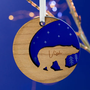 Starry Polar Bear Christmas Ornament