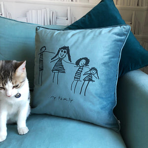 Child's Own Drawing Personalised Velvet Cushion  Home - Betsy Benn