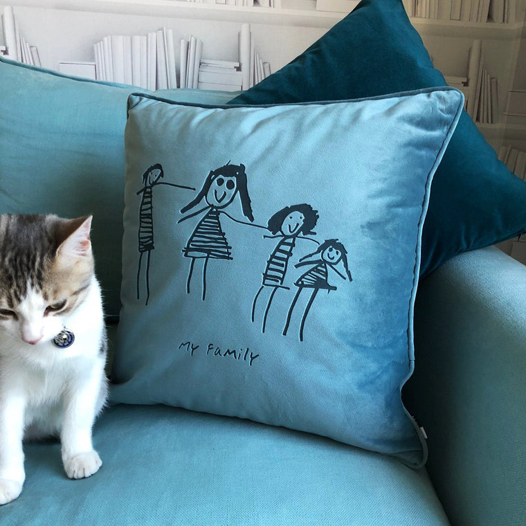 Child's Own Drawing Personalised Velvet Cushion - Betsy Benn