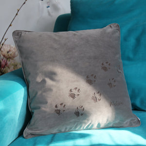 Velvet Pet Paw Print Personalised Cushion