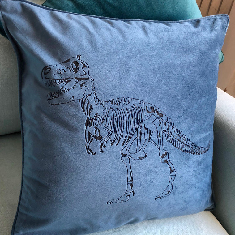 Dinosaur Personalised Velvet Cushion - Betsy Benn