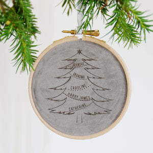 Velvet Family Tree Christmas Decoration