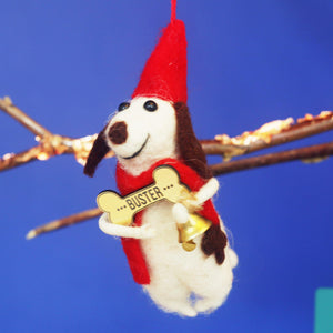 Needle Felted Festive Dog Ornament