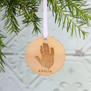 Handprint Christmas Wooden Ornament  Decoration - Betsy Benn