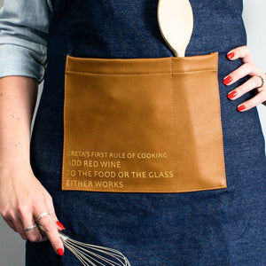 Denim Faux Leather Artisan Apron  Home - Betsy Benn