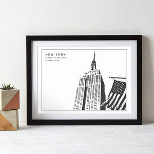 New York Empire State Building Monochrome Art Print  Print - Betsy Benn