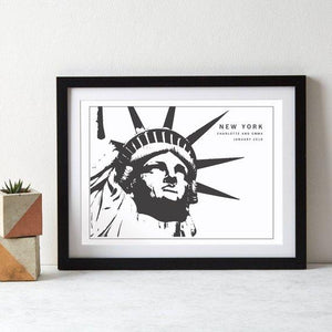 New York Statue of Liberty Monochrome Art Print